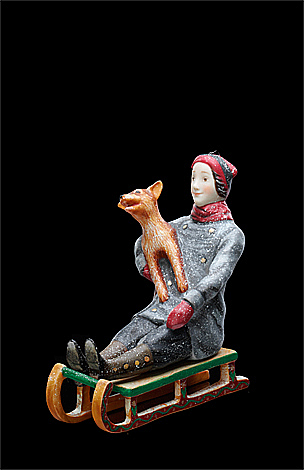 Boy on a sledge